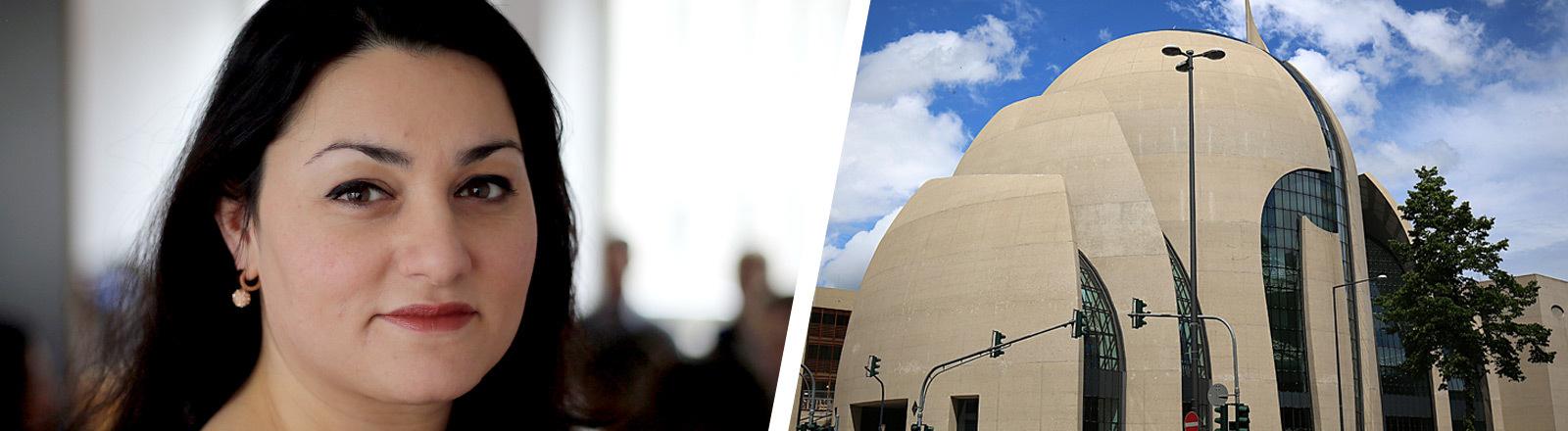 Collage: Islamwissenschaftlerin Lamya Kaddor und die Ditib-Zentralmoschee in Köln.