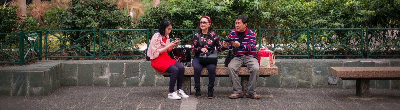 Kleinfamilie in Hongkong, März 2017