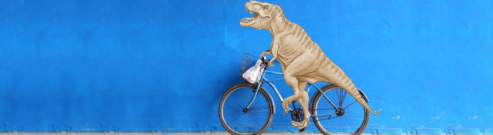 Tyrannosaurus auf Fahrrad
