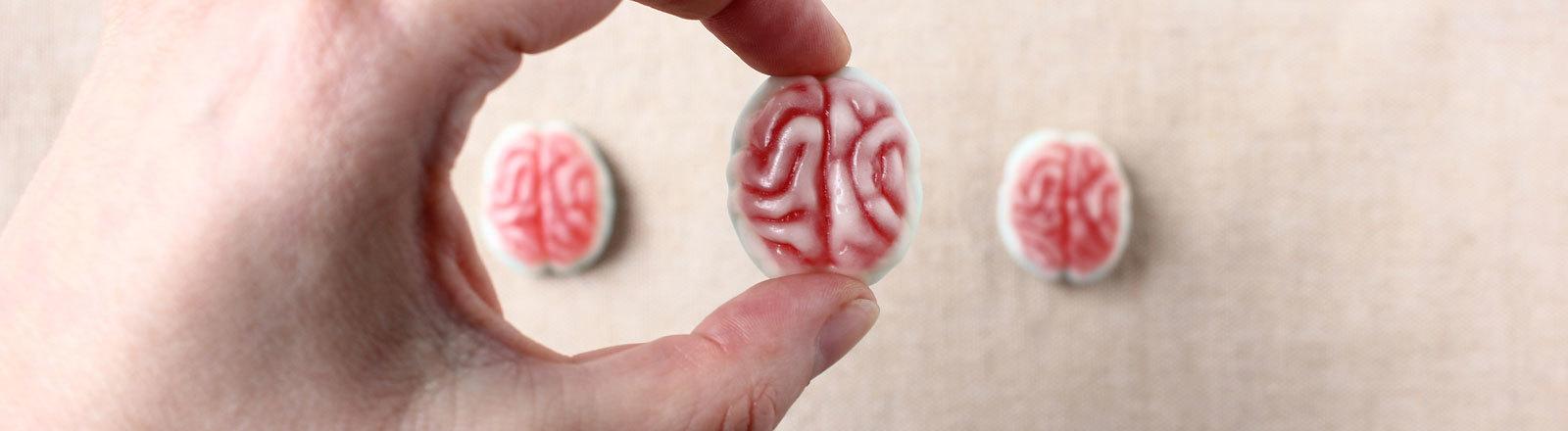 Eine Person hält ein Gehirn aus Fruchtgummi in der Hand.