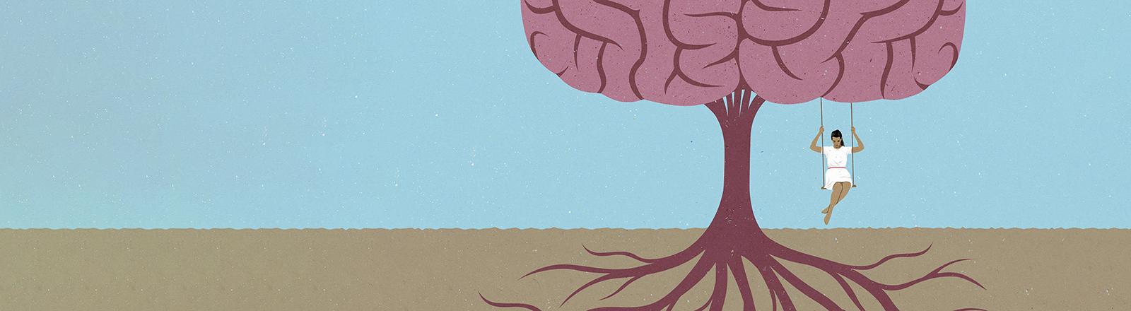 Eine grafische Darstellung eines Gehirns, an dem eine Frau, auf einer Schaukel sitzend, schaukelt