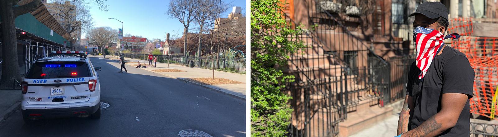 Ein New-Yorker-Polizeiauto und ein junger Mann mit Mundschutz.