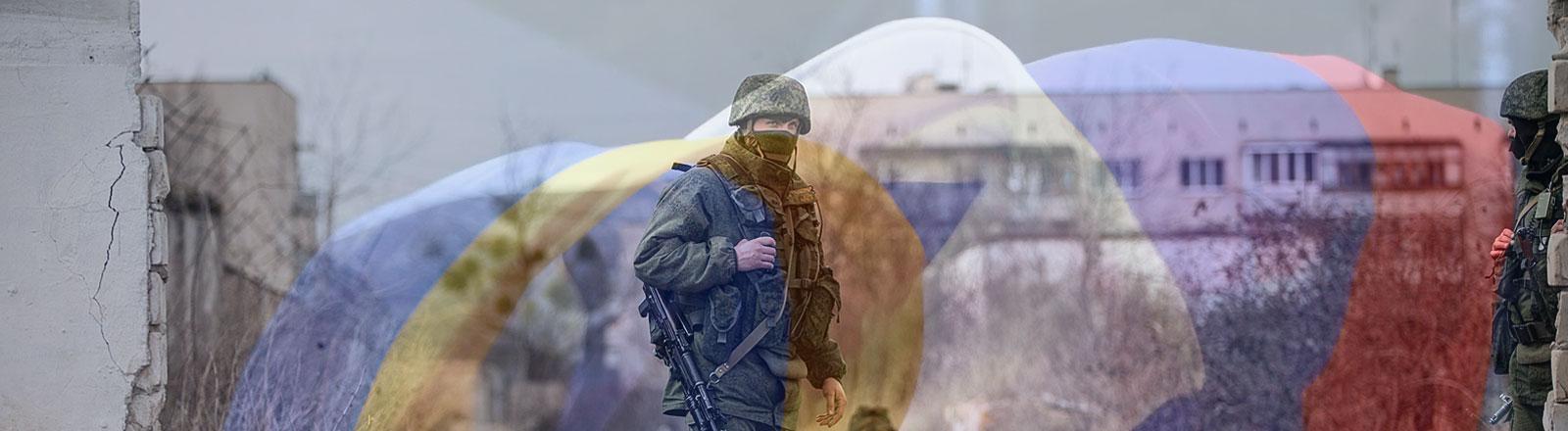 Collage: Ukrainische Soldaten, ukrainische und russische Flagge, Bild: dpa