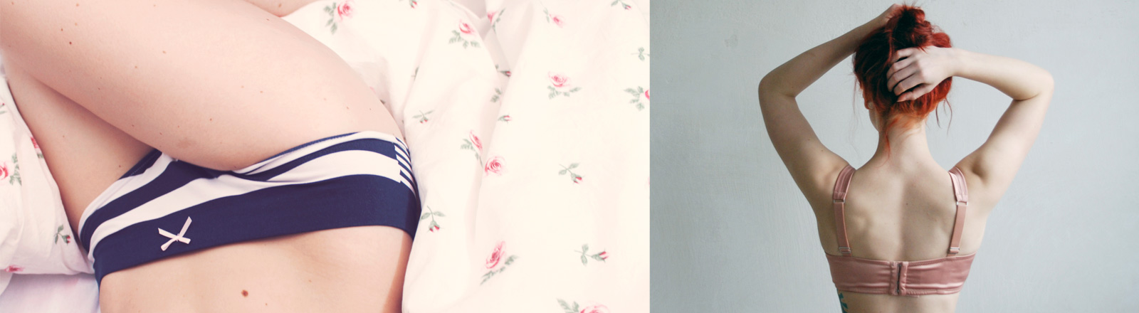 Collage: gestreifter Slip, rosa BH