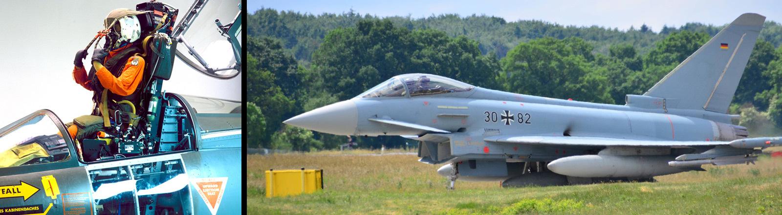 Schleudersitz und ein Kampfjet