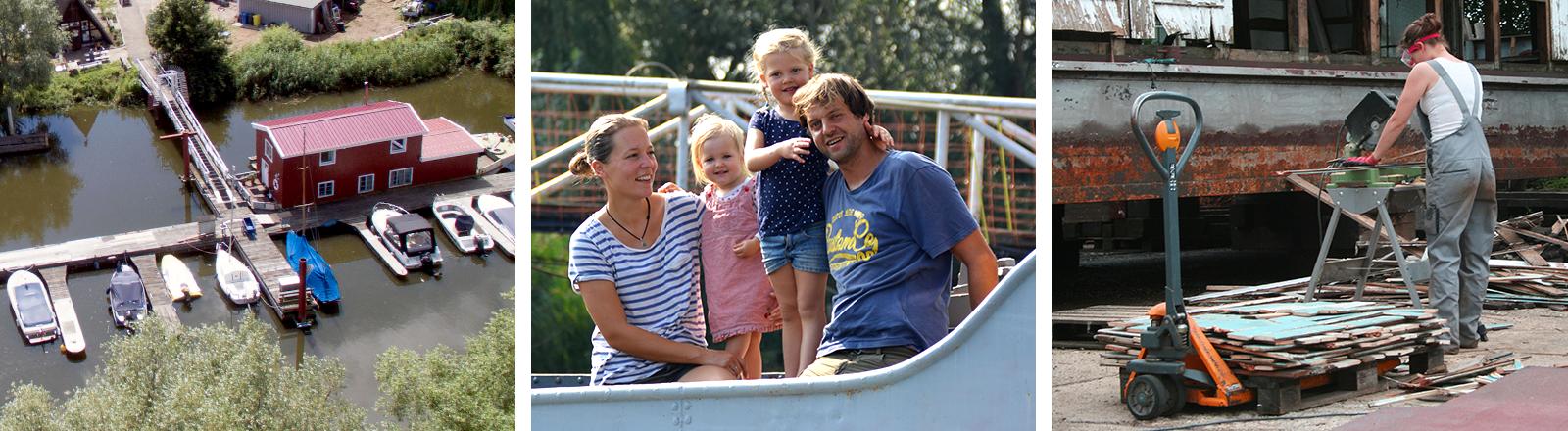 Ein hausboot im Hafen, Familie Grigoleit auf ihrem Boot, JiIll Grigoleit beim Renovieren ihres Hausbootes