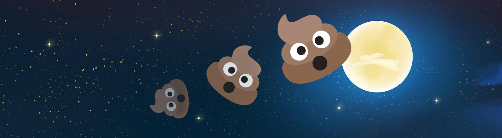 Drei Kacke-Emojis driften vor dem Mond im Weltall
