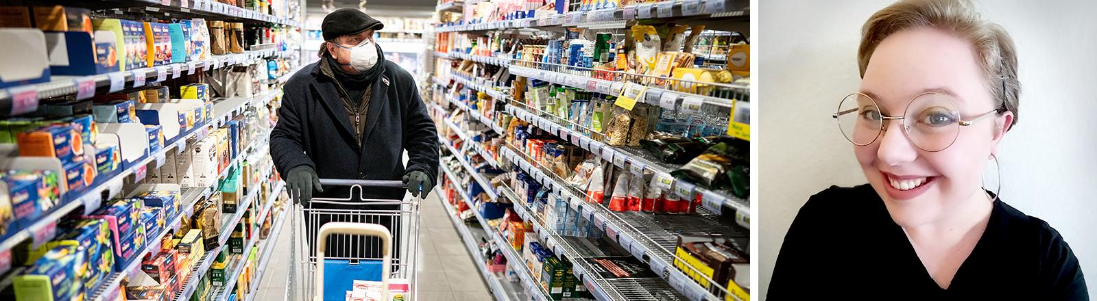 Links: Waren in einem Supermarktregal / Rechts: Portrait von Michelle Janßen
