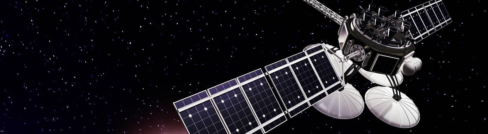 Küstlerische Darstellung eines Satelliten im Weltall