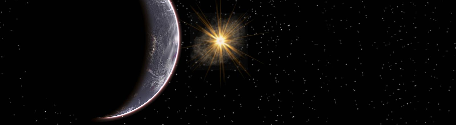 Eine Illustration des hypothetischen neunten Planeten in unserem Sonnensystem