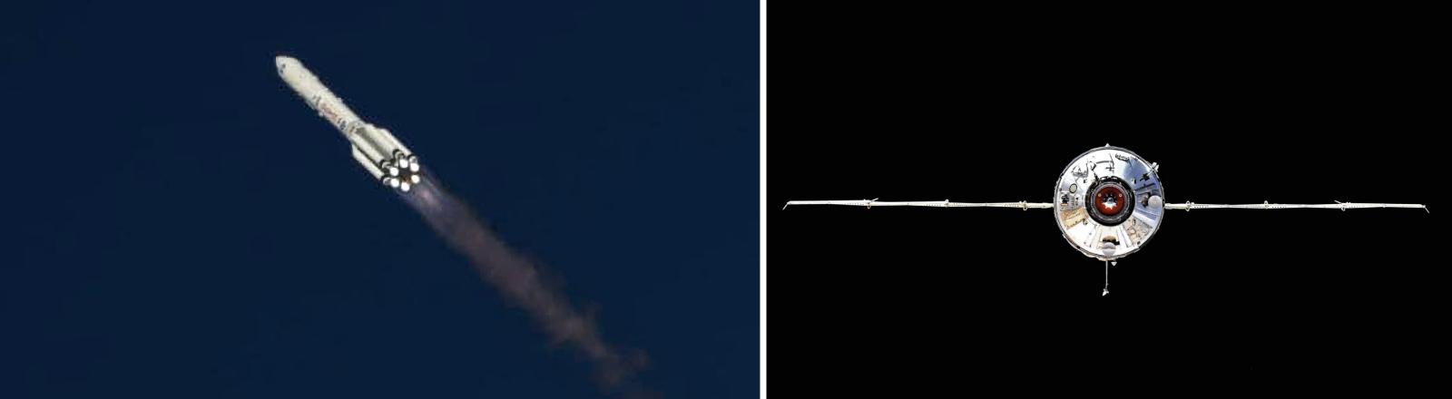 Auf dem Weg zur ISS und das Nauka-Modul vor dem Andocken