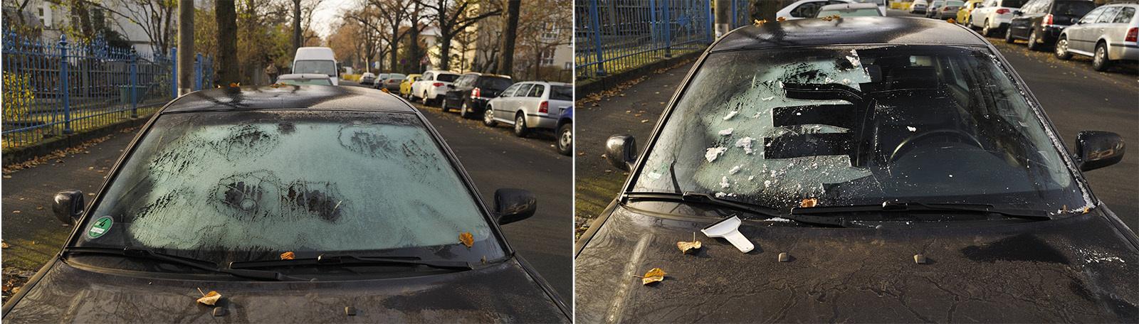 Reif im Herbst auf einem  Auto - ohne Kratzer und mit Kratzer