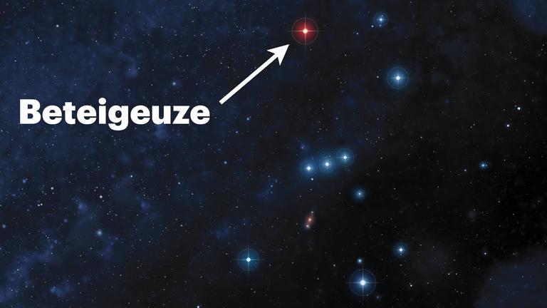 Ein Pfeil markiert den Stern Beteigeuze in einer grafischen Darstellung des Sternbilds Orion