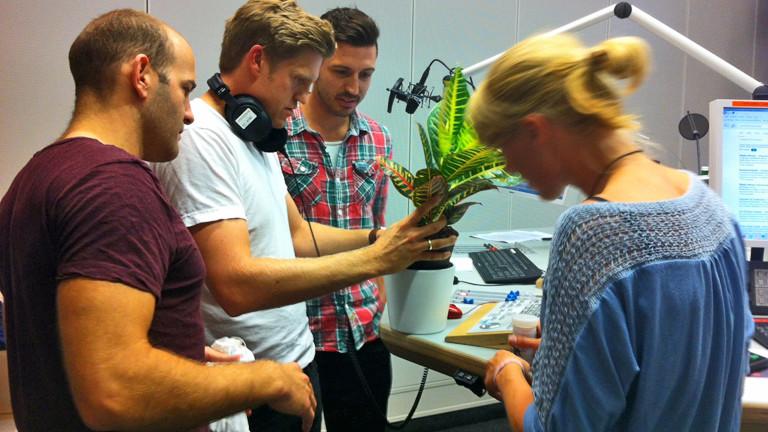 Moderator Thilo Jahn, Nora Hespers und die Studiogäste von Evrgreen begutachten gemeinsam eine Zimmerpflanze.