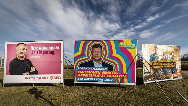 Großplakate der Parteien SPD, FDP und CDU am 20.02.2021 in Baden-Württemberg