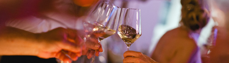 Auf einer Feier stoßen mehrere Personen mit ihren Weingläsern an.