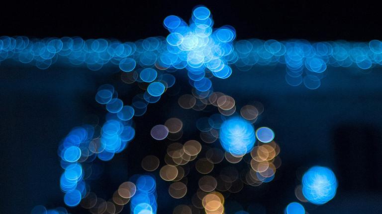 blaues Licht Weihnachtslichterkette