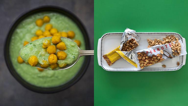 Gesunde und nicht so gesunde Snacks aus Kichererbsen und Erdnüssen.