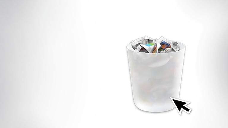 Maus klickt auf Mülleimersymbol