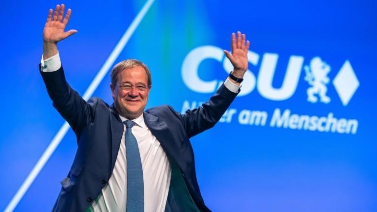 Unions-Kanzlerkandidat Armin Laschet auf dem Parteitag der CSU.
