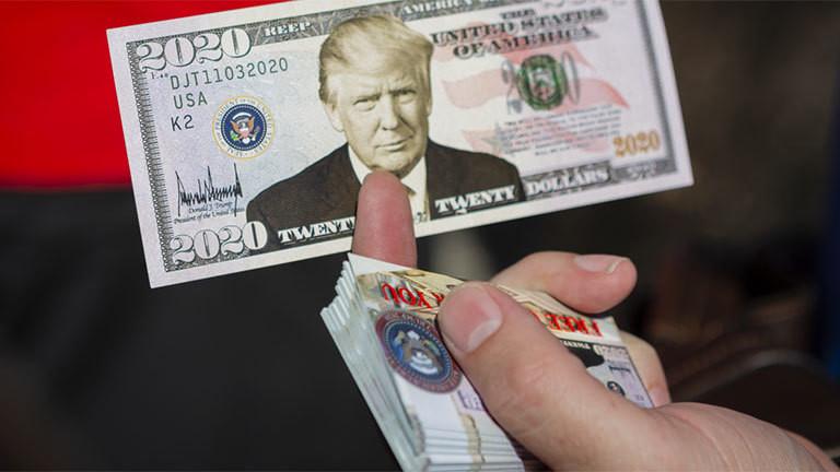 Geldnote mit dem Konterfei Donald Trumps