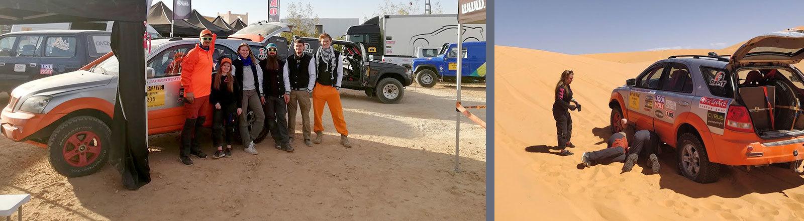 Auto steckt in der Wüste fest
