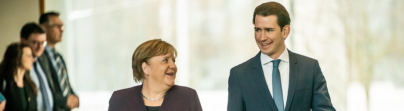 Angela Merkel und Sebastian Kurz in Berlin