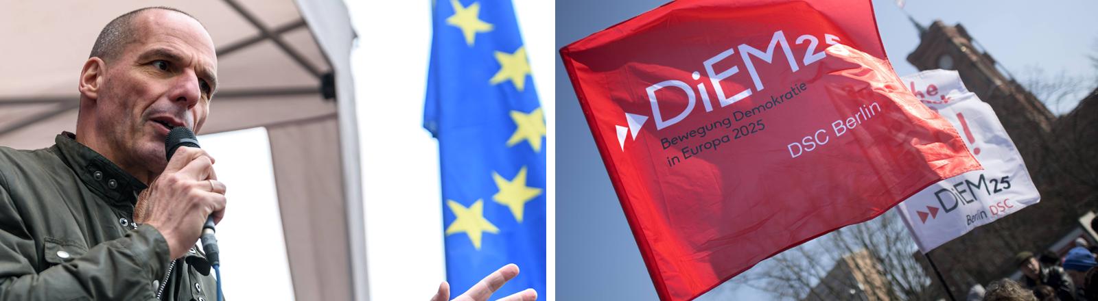 Yanis Varoufakis (Spitzenkandidat DiEM25 zur Europawahl) bei der Pro-Europa-Demonstration der Bewegung PULSE OF EUROPE gegen den drohenden Brexit und für die europäische Idee auf dem Berliner Gedarmenmarkt | Flagge der Europa-Bewegung Diem25