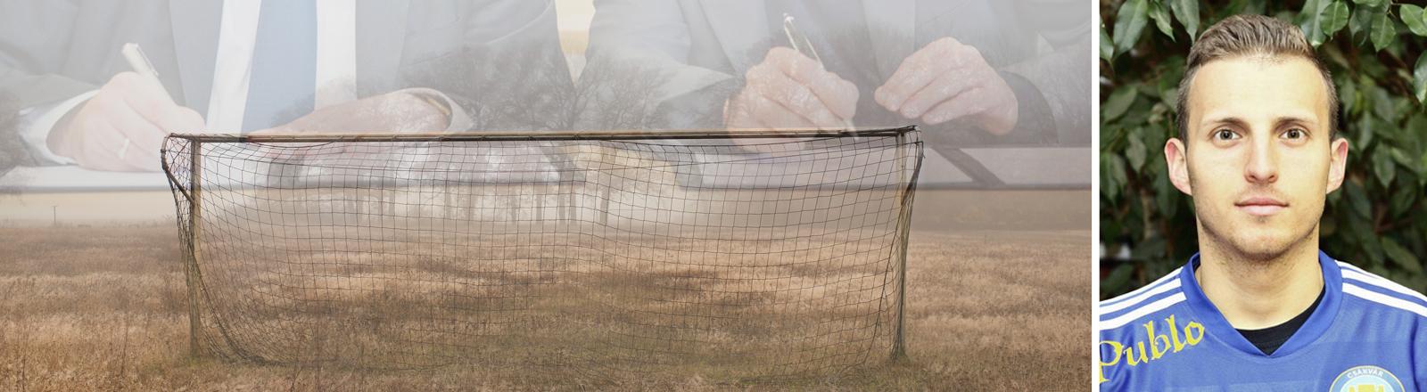 Fussballprofi Robert Feik, Fußballtor, Vertragsunterzeichnung