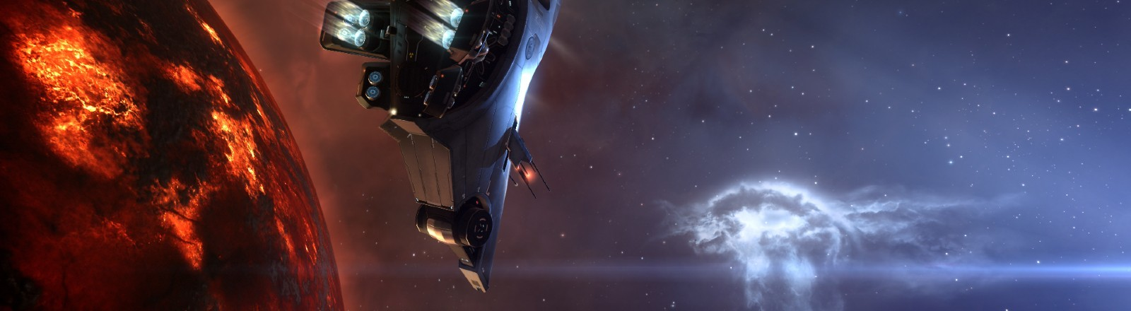 """Eine Szene aus dem Game """"Eve Online"""" im Weltall"""