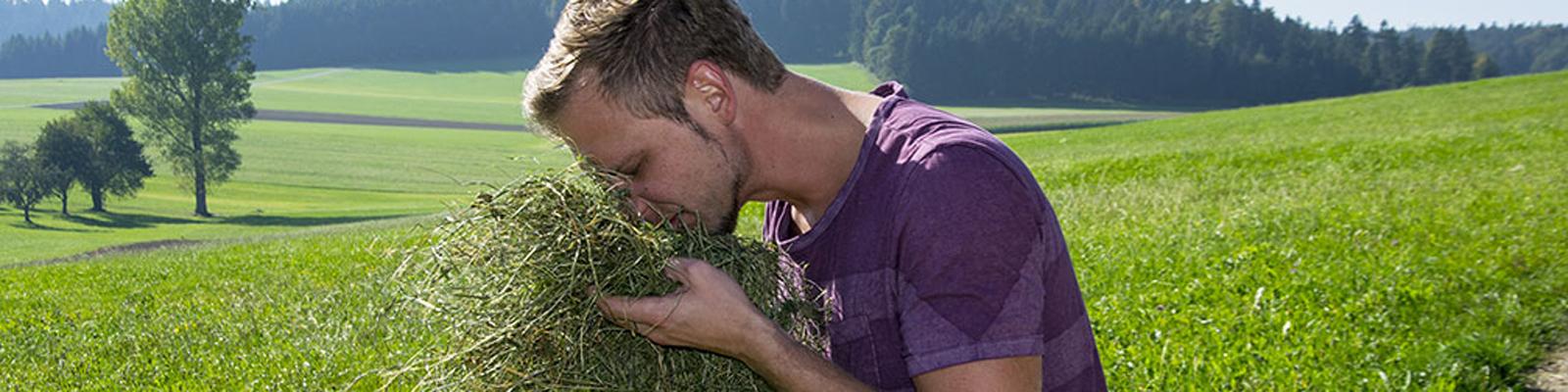 Florian Gollob riecht an einer Handvoll Heu