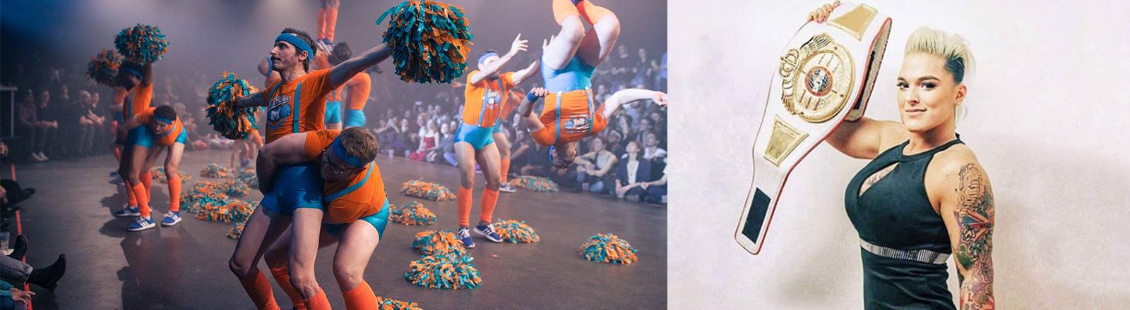 Männer als Cheerleaders Frau mit Wrestlinggürtel