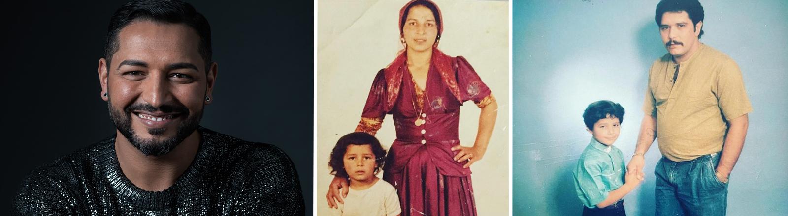 Links Bild eines Mannes mit dunklen Haare, der lächelt, rechts zwei alte Bilder, die den Mann als Jungen mit seinen Eltern zeigen