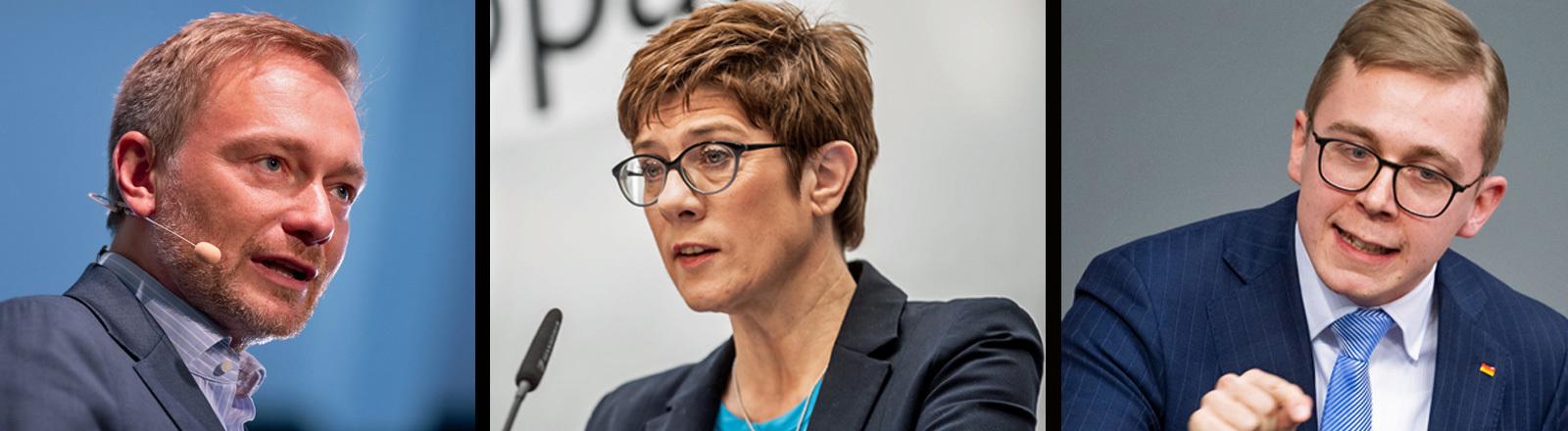 Zu sehen sind Christian Lindner (FDP), Annegret Kramp-Karrenbauer (CDU) und Philipp Amthor (CDU)