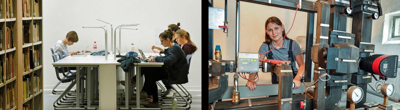 Links, ein Student in der Uni-Bibliothek, rechts eine junge Frau. die hinter Maschinen steht und einen handwerklichen Beruf erlernt.