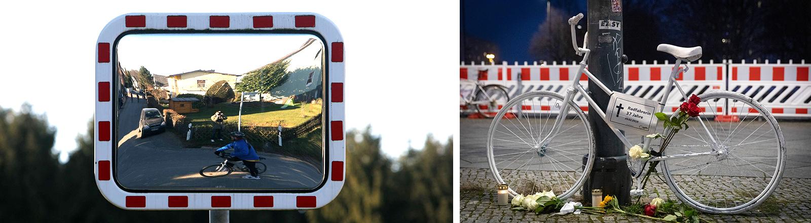 Das Fahrrad einer verunglückten Fahrradfaherin und der Trixi-Spiegel an einer Straße.