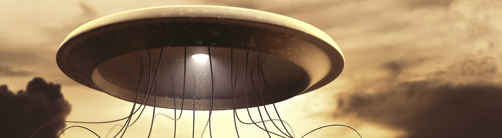Ein Ufo mit Fangarmen schwebt in der Luft.