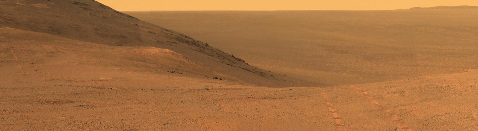 Bild vom Planeten Mars, rote Wüste mit den Spuren vom Mars-Rover.