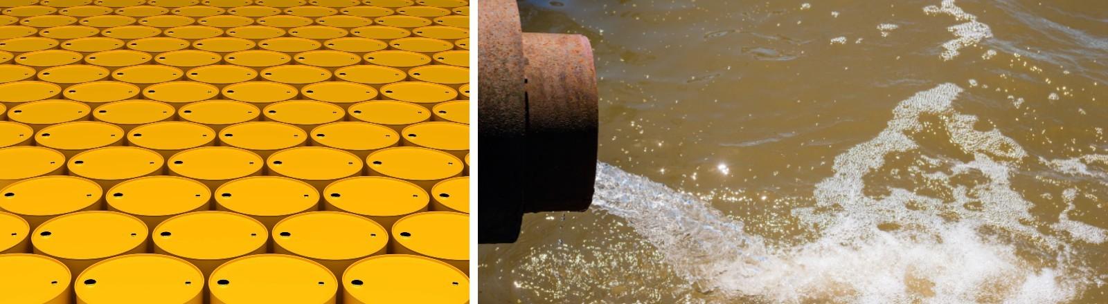 Die Collage zeigt gelbe Tonnen mit Chemikalien und ein Abwasserrohr, das in einen Fluss fließt.