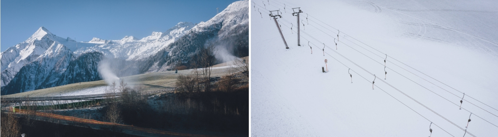 Schneekanonen  Ende November 2020 im österreichischen Kaprun und eine Liftanlage am gleichen Ort im Dezember 2020