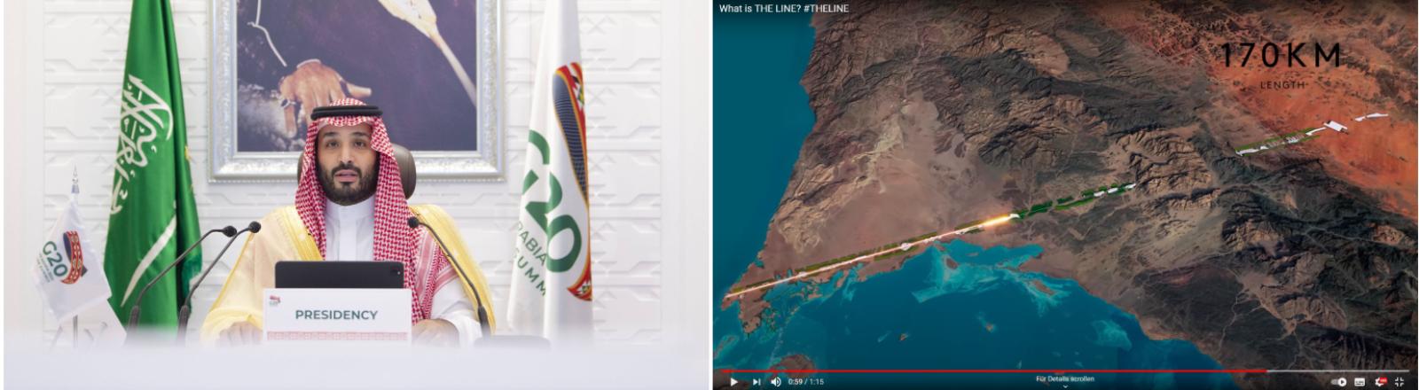 Kronprinz Mohammed bin Salman im November 2020 und Screenshot aus dem Präsentationsvideo zu der Stadt The Line