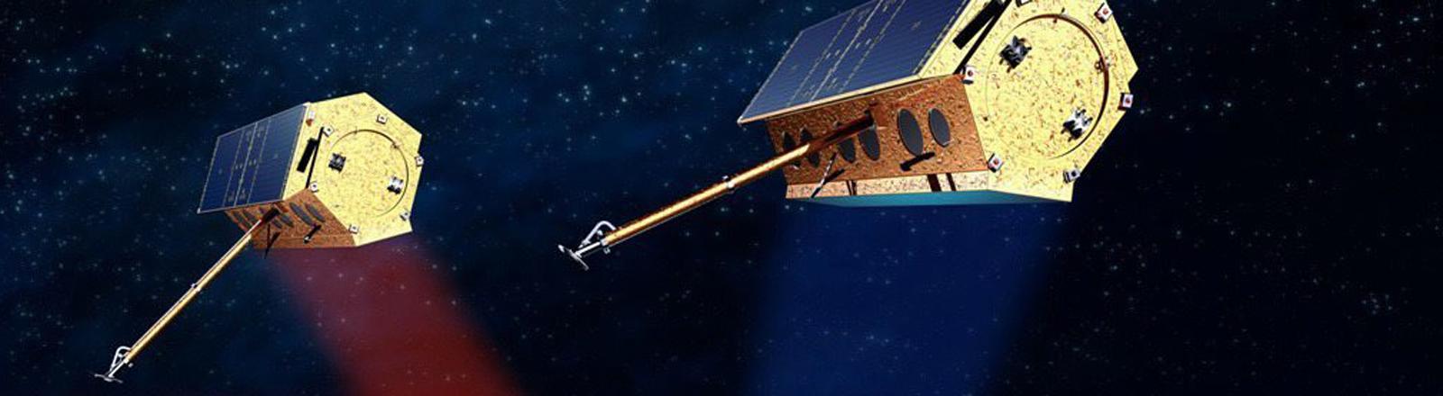 Animation der Satelliten der Tandem-X-Mission