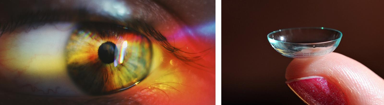 Ein Auge mit rötlichem Lichtreflex, daneben eine Kontaktlinse auf einem Finger.