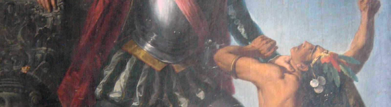 Das Gemälde zeigt Hernan Cortes beim Kampf gegen die indigenen Bevölkerung.