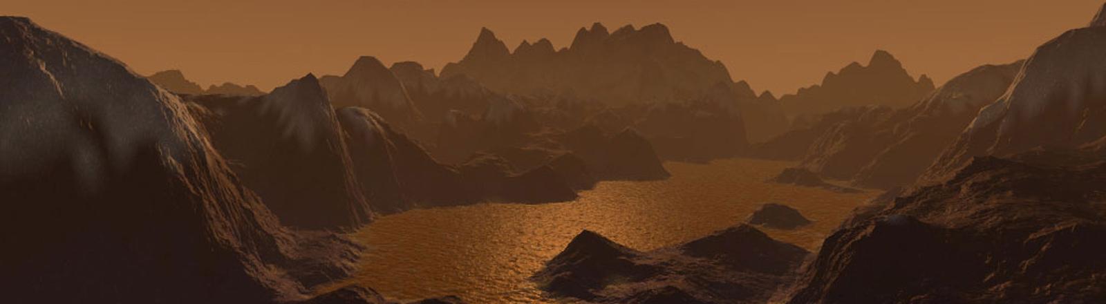 Die Illustration zeigt den Saturnmond Titan mit kohlenstoffhaltigen Seen und felsigem Terrain.