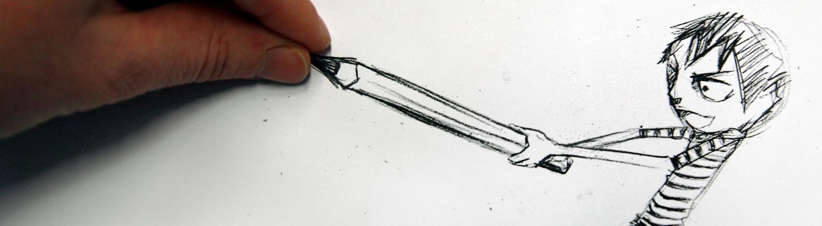 Eine gezeichnete Comicfigur versucht einen gezeichneten Bleistift aus einer realen Hand zu entreißen.