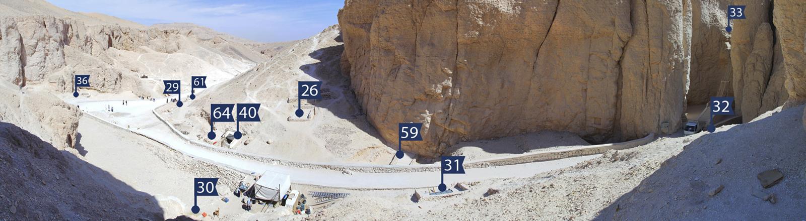Panorama eines Bereichs des Tals der Könige. Markierungen mit Nummern wurden per Computer ergänzt.