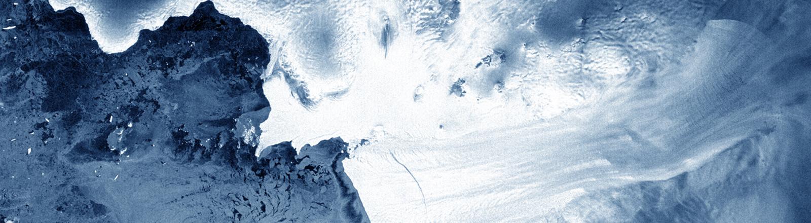 Die Satellitenaufnahme zeigt den Gletsche Pine Island in der West-Antarktis.