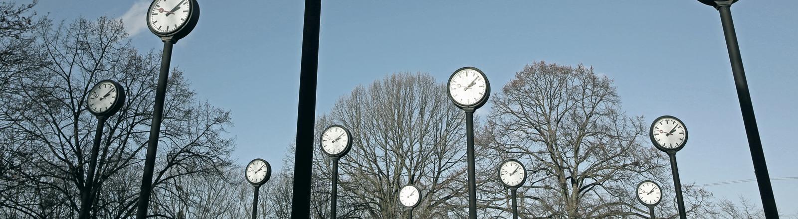 Uhren stehen auf langen Pfählen.