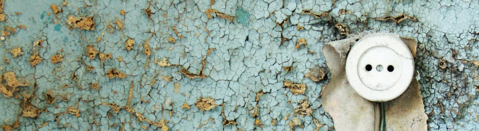 Eine Steckdose. Die hellblaue Farbe blättert überall an der Wand ab.